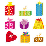 Gift packs. Illustration depicts the nine gift items in various shapes and colors Stock Images