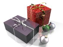 Gift packs and Christmas baubles Stock Images
