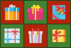 Gift Packs Set, Presents Wrapped in Paper Ribbons. Gift packs set, presents wrapped in paper with red ribbons, topped by pine bells and bow, holiday boxes vector vector illustration