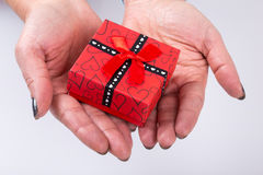 Gift on palm Stock Images