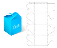 Gift Paper Box with Blueprint Template. Stock Photos