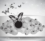 Gift paper card with butterflies and abstract krausens Stock Photography