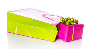 Gift with paper shopping bag Stock Image