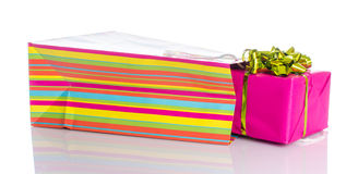 Gift with paper shopping bag Royalty Free Stock Image