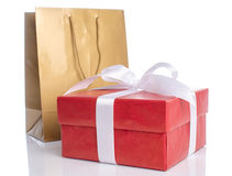 Gift with paper shopping bag Stock Photo