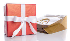 Gift with paper shopping bag Stock Photography
