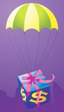 A gift through parachute Stock Images