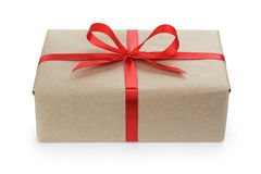 Gift parcel box with ribbon bow Royalty Free Stock Image