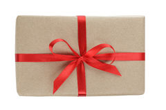 Gift parcel box with ribbon bow Royalty Free Stock Photo