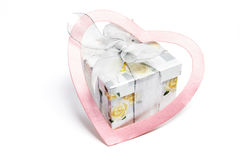 Gift Parcel and Love Heart Stock Images