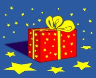 Gift Parcel and Stars. A gift parcel with red paper and yellow ribbons Royalty Free Stock Image