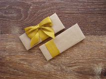 Gift or parcel on a wooden Stock Photo