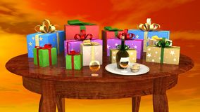 Gift parcels arranged on a wooden table Stock Image
