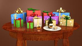 Gift parcels arranged on a wooden table Royalty Free Stock Photography