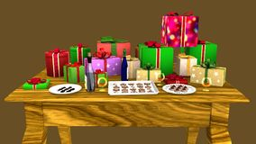 Gift parcels arranged on a wooden table Royalty Free Stock Photo