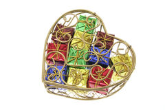 Gift Parcels in Heart-Shaped Metal Box Royalty Free Stock Image