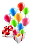 Gift Party Ballons and Streamers Concept Stock Photography