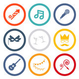 Gift, Party, Birthday. Isolated icons set modern trendy vector illustration royalty free illustration