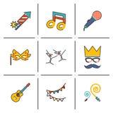 Gift, Party. Birthday line icons set modern trendy vector illustration stock illustration