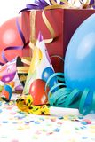 Gift, party hats, horns or whistles, royalty free stock photo