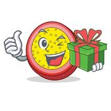 With gift passion fruit mascot cartoon. Vector illustration Stock Photo
