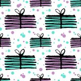 Gift pattern, seamless texture with hand drawn illustrations of present boxes. vector illustration