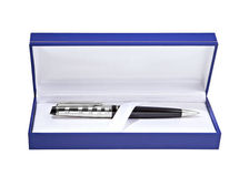 Gift pen in a box Royalty Free Stock Image
