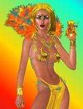 Gift of a Pharaoh Queen. A sensual Egyptian Goddess delivers a Pharaoh Queen for Egypt. Adorned with gold jewelry, gold skirt and a multicolored feather collar Royalty Free Stock Images