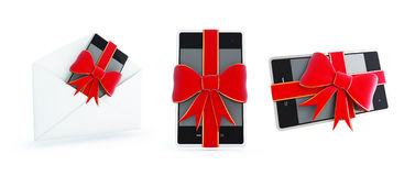 Gift phone set on a white background 3D illustration Royalty Free Stock Images