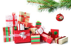 Gift pile under a Christmas tree stock image
