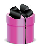 Gift pink box with black silk ribbon and bow Royalty Free Stock Photos