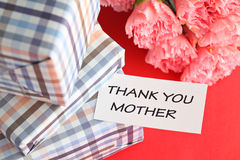 Gift and pink carnations flower for Mother's Day Stock Image