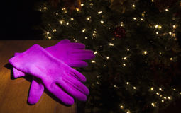 Gift of pink gloves Royalty Free Stock Photography