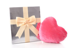 Gift and pink heart Stock Image