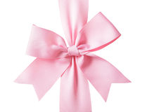 Gift pink ribbon and bow Royalty Free Stock Photography