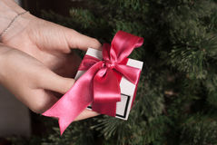 Gift with pink ribbon, white box in female hands, Christmas surprise, Royalty Free Stock Photo