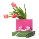 Gift with pink tulips Royalty Free Stock Image