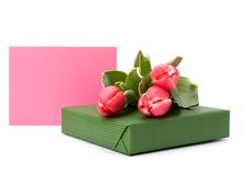 Gift with pink tulips Stock Photography