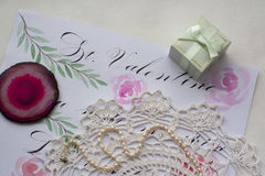 Gift and postcard. Romantic gift, women`s accessories, Saint Valentine`s day Stock Image