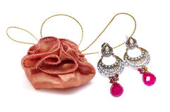 Gift pouch with diamond ear rings jewellery Royalty Free Stock Images