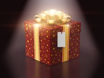 Gift or present box with ribbon bow and label tag. Creative abstract Christmas or Xmas, New Year or birthday tradition celebration concept: 3D render Royalty Free Stock Images