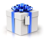 Gift or present box with ribbon bow and label tag Stock Images