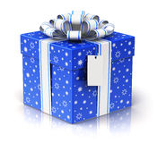 Gift or present box with ribbon bow and label tag Stock Photos