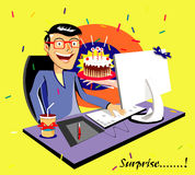 Gift. present. Cake. surprise. cartoon  illustration Stock Images