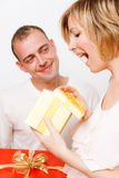 Gift present couple Royalty Free Stock Images
