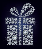 Gift present made up a lot of diamonds on the blac Royalty Free Stock Photo