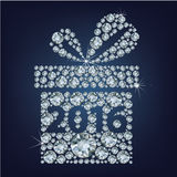 Gift present with 2016 made up a lot of diamonds Stock Images