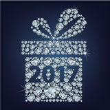 Gift present with 2017 made up a lot of diamonds Stock Image