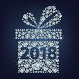 Gift present with 2018 made up a lot of diamonds Stock Photography