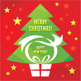 Gift Present - Merry Christmas - Happy New Year. Gift Merry Christmas vector illustration for different works of advertising Royalty Free Stock Photos